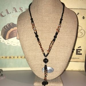 Jewelry - Black, Orange, and Clear Glass Bead Necklace